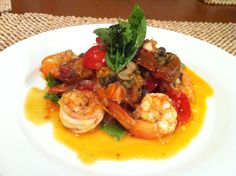 Prawns with Roast Tomatoes and Capers