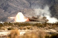 M1A2 Abrams during the annual qualification firing on the range in California, USA. 2013.