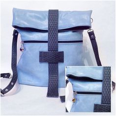 Blue leather backpack purse / women leather от MadamEliseeva
