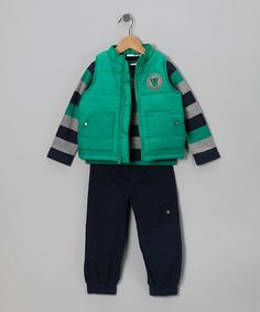 Take a look at this Teal 'Varsity Spirit' Puffer Vest Set - Infant by Baby Togs on #zulily today!
