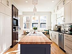 Rustic Bungalow Kitchen Design Ideas with Wooden Countertop : Fascinating Bungalow Kitchen Design Ideas Wooden Floor White Cabinet