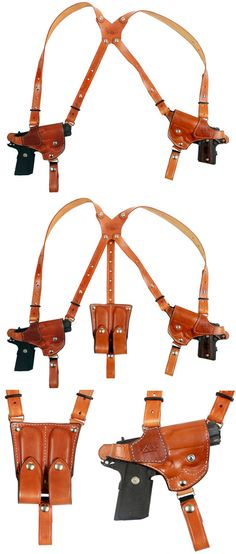 BH Custom Leather Double Gun Shoulder Holster - esse é pra quando eu puliça Survival, Custom Leather Holsters, Tac Gear, Gear 2, Rifles, Leather Craft, Handmade Leather, Leather Jewelry, Gun Holster