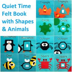 Make a Quiet Time Felt Book out of Shapes & Animals My Busy Books, Diy Quiet Books, Baby Quiet Book, Felt Quiet Books, Baby Crafts, Preschool Crafts, Felt Crafts, Baby Sewing Projects, Book Projects