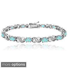 Glitzy Rocks Silver-Tone 3ct TGW Created Opal and Diamond Accent Infinity Bracelet