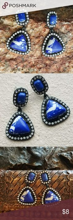 Lapis Stone & Rhinestones Earrings Faux stone pendulum earrings that sway & sparkle like crazy!  Look heavy but are nice & lightweight!  The blue stone is framed by crystal rhinestones set in a black rim. Stunningly fun and happy bling!  These earrings look fabulous with Royal Blue, Midnight Blue, Denim, White, or Red colored outfits!  Pairs beautifully with my Wild Horses top shown in the last two pictures above - also listed for sale. 🐎🐎🐎 No Brand Jewelry Earrings