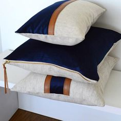 Vertical Leather Stripe - Color block Linen Pillow Cover - Navy Combo : Vertical Leather and Velvet Stripe Pillow Cover Navy Combo Navy Pillows, Linen Pillows, Decorative Pillows, Cushions, Throw Pillows, Owl Pillows, Fur Pillow, Leather Pillow, Cushion Covers