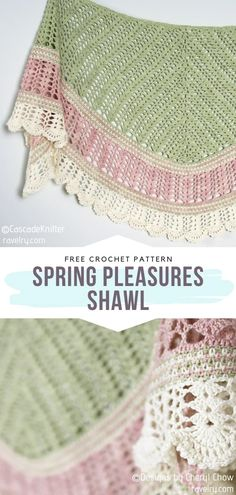 How to Crochet Spring Pleasures Shawl - - Lace, light color combinations, fringes. Today's collection of free patterns for crochet Light Spring Shawls evidently has it all! When the weather gets. One Skein Crochet, Crochet Shawl Free, Crochet Gratis, Crochet Shawls And Wraps, Crochet Scarves, Crochet Blankets, Laine Rowan, Crochet Triangle, Light Spring