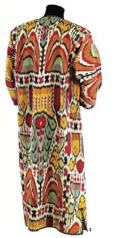 Half-silk ikat robe, Bukhara, Uzbekistan, 1860s-1870s, Textile Museum Megalli collection. Photo by Renee Comet, Hali, summer 2010 - style court: Landing the Cover