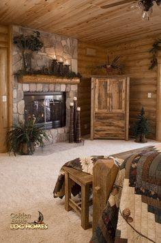 Log Home By Golden Eagle Log Homes - Master Bedroom