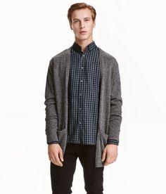Fine-knit Cardigan | Dark gray melange | Men | H&M US