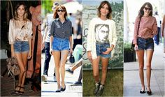 Alexa chung szorty Alexa Chung, Denim Skirt, Vogue, Skirts, Fashion, Moda, Fashion Styles, Denim Skirts, Skirt