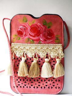 Boho Pink Handbag Hand Painted Roses Tassel Fringe Bohemian Crossbody Bag