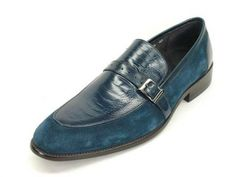 Men's Blue Suede Slip-On Buckle Loafer by Carrucci