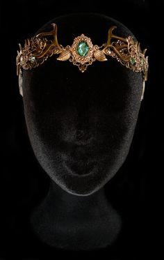 Antlers Crown Deer Faun Headdress Hair Circlet Bronze Nymph Green Peridot Wood Mother Nature Wiccan Goddess Baratheon Queen