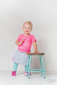 Quapi | Shortsleeve Fina Sweet | Skirt Jeans Fenella Blue Stripe | Legging Frida 1 Mint Striped Leggings, Jean Skirt, Blue Stripes, Baby Girls, Babys, Mint, Jeans, Sweet, Home Decor