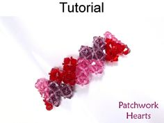 Patchwork Crystal Heart Bracelet Beading Pattern Tutorial