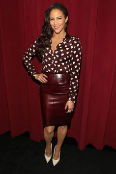 Paula Patton: Rocked a silk heart & burgundy Burberry Prorsum button down,paired with Burberry Prorsum patent leather pencil skirt,burgundy nail laquer,white pumps and white clutch.