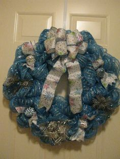 Ice Blue / Silver Christmas Wreath