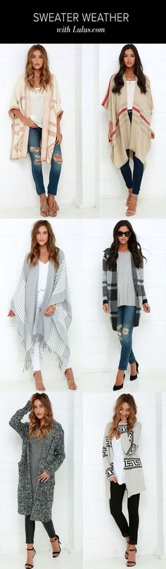 No other outerwear is as cool and sophisticated as the Swiss Alps Ivory and Grey Striped Poncho! Grey woven fabric with ivory stripes shapes an open front poncho! Looks Chic, Looks Style, My Style, Look Fashion, Fashion Outfits, Womens Fashion, Fashion Trends, Fashion News, Runway Fashion