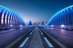 Original design, bridge in Dubai. Nice colors at nighttime - #bridge #highway #night