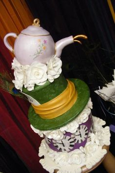 Alice in Wonderland Mad Hatter's Tea Party Cake. Finalist for a CATIE Award!