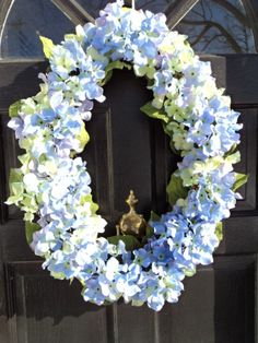 W- Oval Spring Flower Wreath  Wedding  Front Door  Hydrangea   Easter Wreath  Front Door Decor  Wedding Gift  A Blossom Shop ablossomshop on Etsy, $69.00