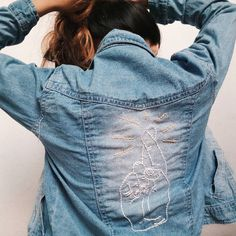 Don't like the crossed fingers, but I like the idea of white or pale blue on faded denim
