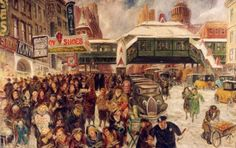 John Sloan (American, 1871-1951), 14th Street at 6th Avenue, c. 1935, oil on wood panel, US General Services Administration, thanks to Charle...