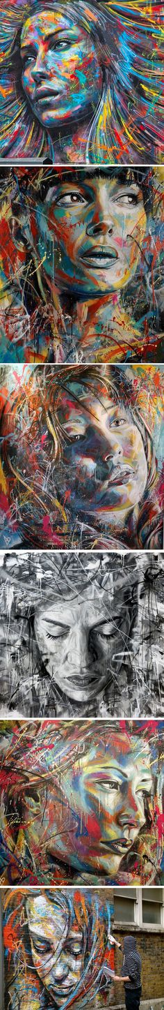 Huge portraits by David Walker – artist – Graffiti World David Walker, Walker Art, L'art Du Portrait, Abstract Portrait, Abstract Art, Portraits, Tableau Pop Art, Street Art, Graffiti Murals
