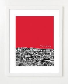 Tucson Skyline Art Print Arizona City Series Version 2