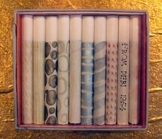 "Hand-painted Parliament cigarettes, a gift to Charles and Ray Eames, (From ""Deborah Sussman Loves Los Angeles!"", exhibition at WUHO). Charles & Ray Eames, Packaging Design, Objects, Artsy, Eyeshadow, Hand Painted, Color Palettes, Gifts, Painting"