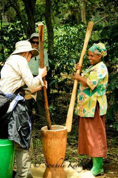 Grinding coffee beans @ Gibb's organic farm, Tanzania