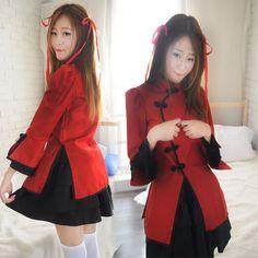 Black/Red Lolita Maid Hanfu Cosplay Dress SP1710549