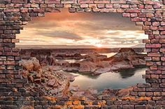 "Wall26 - Large Wall Mural - Majestic Landscape Viewed through a Broken Brick Wall | 3D Visual Effect Self-adhesive Vinyl Wallpaper / Removable Modern Decorating Wall Art - 66"" x 96"""