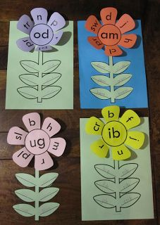 Do with cupcake liners for less prep (if no blackline copy available). Word family flowers