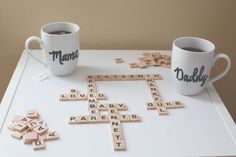 Just an idea...Scrabble letters on a board so guests can spell out loving words...hrmm.  Magnetic words?  Use glue for a Scrabble collage?