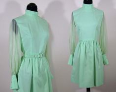 Vintage mint green dress shorter skirt nylon sleeves