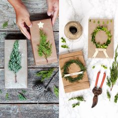 Beautiful super easy DIY Christmas gift wrapping ideas using upcycled brown paper free natural materials to create festive designs that everyone loves A Piece Of Rainb. Christmas Planters, Christmas Mason Jars, Christmas Table Decorations, Outdoor Christmas, Winter Christmas, House Decorations, Xmas, Easy Diy Christmas Gifts, Christmas Gift Wrapping