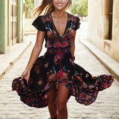Women's Bohemian Dress Summer Floral Dress Sexy Retrospective Fringed Dress…