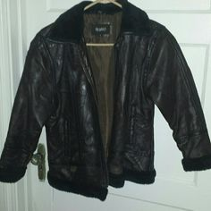 Pb Basics brown leather jacket Selling this leather jacket , originaly I had got it for 60$ I'm only asking for $45. Its a size xl but fits small and tight . pb basics  Jackets & Coats Blazers