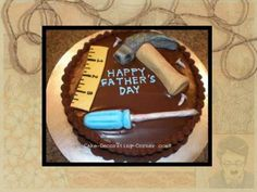 This fathers day cake features gumpaste tools atop a chocolate ganache covered cake. This tool cake idea can be used for as a mens cake . Birthday Cakes For Men, Easy Birthday Cake Recipes, Cake Birthday, Birthday Nails, Happy Birthday, Birthday Ideas, Birthday Parties, Birthday Cake Decorating, Cake Decorating Supplies