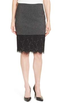 Vince Camuto Lace Hem Tweed Pencil Skirt (Regular & Petite)
