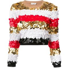 Sonia Rykiel striped sequined cropped blouse ($1,645) ❤ liked on Polyvore featuring tops, blouses, multicolor, white sequin blouse, striped top, white blouse, pattern blouses and striped blouse