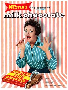 Nestlé's Milk Chocolate advertisement.    From John Bull magazine, week ending 5th October, 1957.