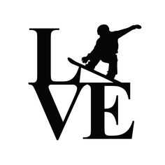 Snowboarding Stacked Love Decal por StickyImages en Etsy