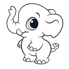 Cute Coloring Pages, Cartoon Coloring Pages, Animal Coloring Pages, Coloring Books, Nursery Drawings, Baby Animal Drawings, Cartoon Drawings, Cartoon Elephant Drawing, Cute Easy Drawings