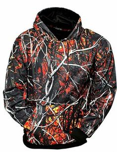 622082a06c6 Men s Camo Pullover Long Sleeve Hoodie Wildfire Orange Moonshine Attire  Size LG in Clothing