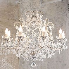 Chabby Chic Chandelier -I love this. Size may be a bit big for dining room, maybe overr tub?