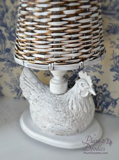 Rooster Lamp Makeover with Basket Lamp Shade - I never thought about using a basket for a lamp shade. Very cute!