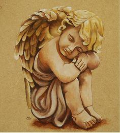 angelot (statue) sur bois peinture